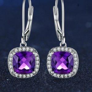 Jewelry - Amethyst earrings 925 Silver setting NIP
